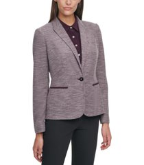 tommy hilfiger single-button elbow-patch blazer
