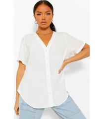 blouse met korte mouwen en knoopsluiting, wit