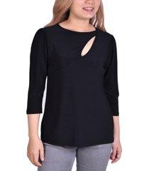 women's 3/4 sleeve cutout pullover