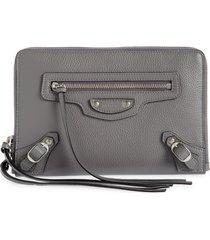 women's balenciaga neo classic leather crossbody pouch - grey
