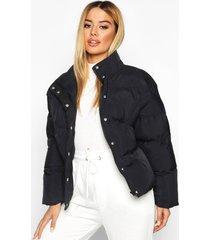 petite cropped hooded padded jacket, black