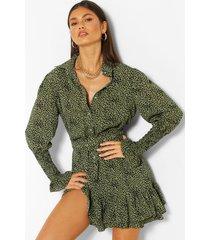 blouse jurk met geplooide zoom, ceintuur en stippen, kaki