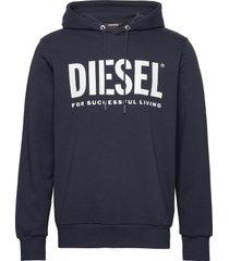 s-gir-hood-division-logo sweat-shir hoodie trui blauw diesel men