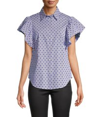 redvalentino women's stripe & dot-print shirt - iris - size 40 (8)