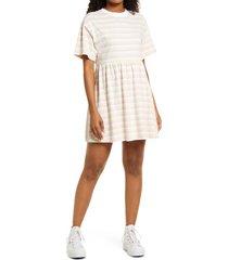 bp. babydoll organic cotton t-shirt dress, size large in pink- yellow mia stripe at nordstrom