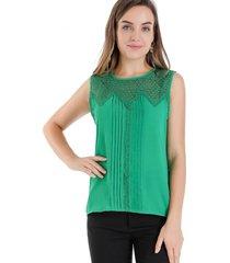blusa detalles calados verde nicopoly