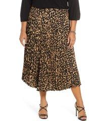 plus size women's halogen pleated midi skirt