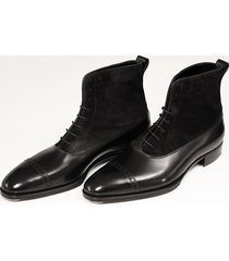 handmade men oxford dress boot, men black suede and leather ankle boots