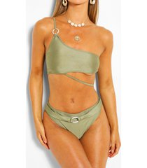 asymmetric ring high waist bikini, khaki
