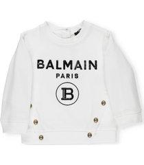 balmain loged sweatshirt with buttons