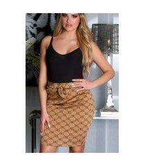 sexy hoge taille rok met print bruin