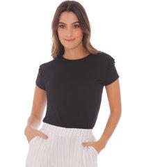 camiseta negra con bolero en mangas para mujer x49328