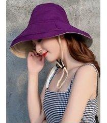 sombrero de sol sólido de verano de doble cara para mujer, morado