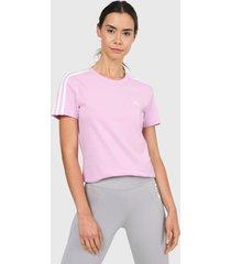 camiseta lila-blanco adidas performance essentials 3 rayas