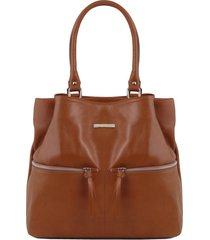 tuscany leather tl141722 tl bag - borsa a spalla in pelle con tasche frontali cannella