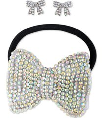 guess crystal bow stud earrings & stretch headband set