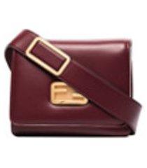 fendi bolsa tiracolo id de couro pequena - vermelho