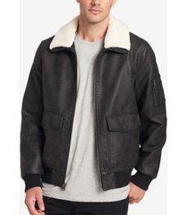 dockers men's faux-leather aviator jacket