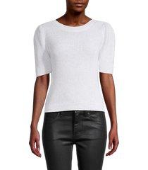 525 america women's puffed-sleeve cotton-blend sweater - metallic black - size s