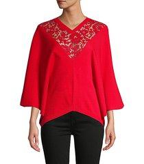 lace kimono-sleeve sweater