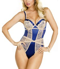 women's support cup teddy accented with lace panels