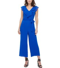 dkny double-ruffle v-neck jumpsuit