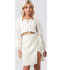 afj x na-kd belted wrap mini skirt - beige