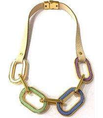 colar armazem rr bijoux couro elos coloridos feminino - feminino