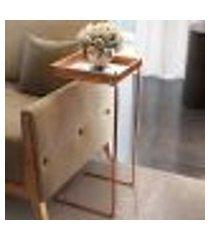 mesa de apoio pilar espelhada linha cobre neew house castanho