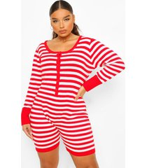 plus gestreepte gebreide one piece met shorts, red