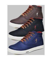 kit 3 pares sapatênis casual botinha masculino polo blu preto/azul/café