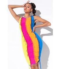 akira queen of summer colorblock fringe mini dress