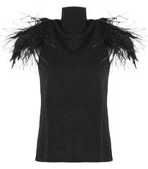 alberta ferretti black virgin wool top