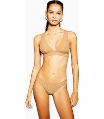 sand shirred high leg bikini bottoms - sand