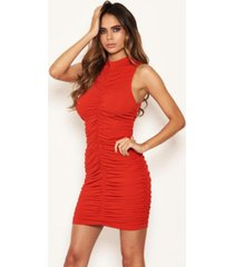 ax paris women's high neck ruched bodycon mini dress