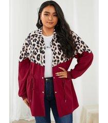 abrigo de manga larga con cordón de leopardo y cuello de solapa de talla grande yoins