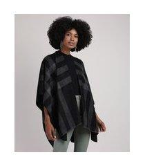 poncho feminino em fleece dupla face preto