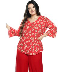 blusa flores roja plica