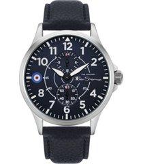 ben sherman men's blue genuine leather strap multifunction watch, 44mm