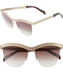 women's moschino 57mm rimless metal bar polarized sunglasses -