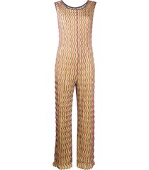 m missoni wave-print knitted jumpsuit - gold