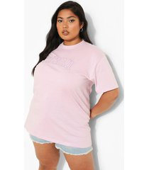 plus geborduurd hawaii t-shirt, lilac