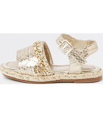 river island mini girls gold quilted chain sandals