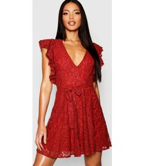 lace ruffle sleeve skater dress, terracotta