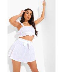 crop top en shorts strand set met franjes, white