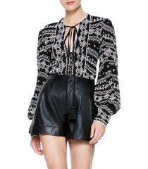 women's alice + olivia ona embroidered tunic top