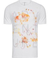 camiseta masculina estampa adventure - branco