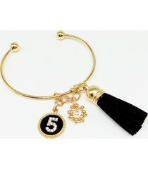 bracelet open leather tassel charm medallion five diamond crown gift birthday
