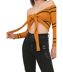 blusa cropped my favorite thing(s) tricot ombro a ombro amarela