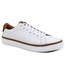 sapatênis couro shoestock liso masculino